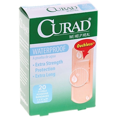 Curad® Waterproof Bandages, Tan, 3 1/4in. L x 1in. W, 20 Bandages/Box, 24 Boxes/Case
