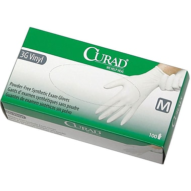 Curad® Powder-Free Latex-free 3G Vinyl Exam Gloves, White, Small, 9