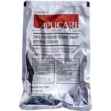 Medline PVP Paint Sponge Sticks, 30/Pack