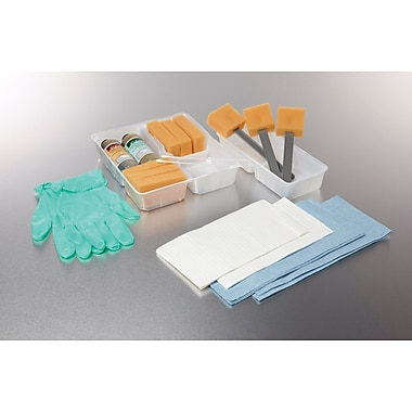 Medline Wet Premium Skin Scrub Trays with Vinyl Gloves and Large CSR Wrap, 20/Pack