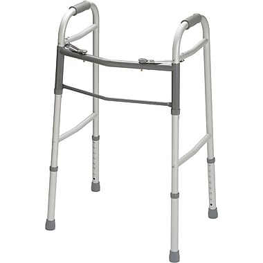 Red Dot® Two-button Folding Walker without Wheels, Adult, 32 1/2in. - 39 1/2in. H, Each