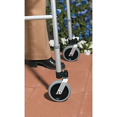 Medline Footpiece Set, 1in. dia Wheel Brake, Pair