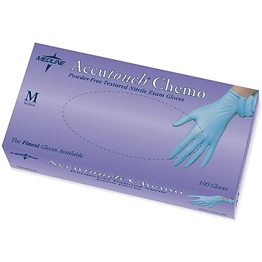 Accutouch Powder-Free Latex-Free Synthetic Vinyl Exam Gloves, Blue, Large, 9