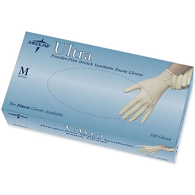 Medline Ultra Stretch Powder-free Latex-free Vinyl Exam Gloves, Beige, Medium, 9
