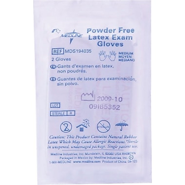 Medline Latex Exam Glove Pairs, Beige, Large, 9in. L, 50/Box