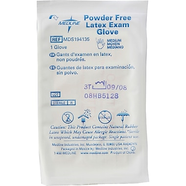 Medline Sterile Powder-free Latex Exam Gloves, Beige, Small, 9