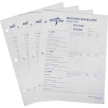 Medline Instrument Sterilization Record Envelopes, 9in. x 12in. Size, 100/Pack
