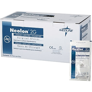 Neolon 2G Powder-free Latex-free Neoprene Surgical Gloves, 100/Pack