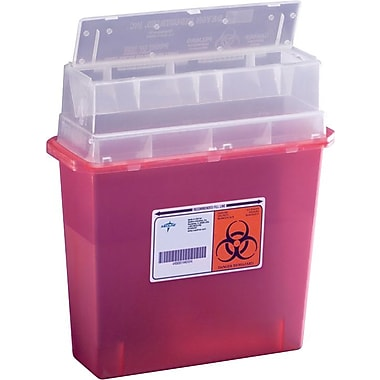 Medline Biohazard Patient Room Sharps Containers, 5 qt, 30/Pack