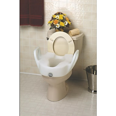 Medline Lock-on Elevated Standard Toilet Seats with Arms, 5in. H x 15in. W Seat