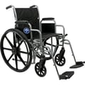 Medline Excel K1 Basic Wheelchairs, 18in. W x 16in. D Seat, Removable Desk Length Arm, Elevating Leg