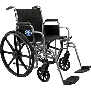Medline Excel K1 Basic Wheelchairs, 18in. W x 16in. D Seat, Permanent Full Length Arm, Elevating Leg
