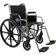 Medline Excel K1 Basic Wheelchairs, 18 W x 16 D Seat, Permanent Full Length Arm, Swing Away Leg