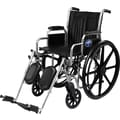 Medline Excel 2000 Wheelchair, 16in. W x 16in. D Seat, Permanent Full Length Arm, Swing Away Leg
