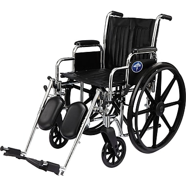Medline Excel 2000 Wheelchair, 16in. W x 16in. D Seat, Permanent Full Length Arm, Elevating Leg