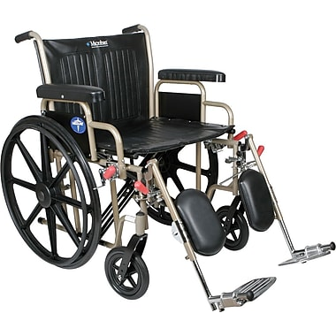 Medline Excel Heavy Duty Wheelchair, 22in. W x 18in. D Seat, Removable Desk Length Arm, Elevating Leg