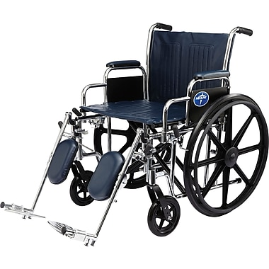 Medline Excel Extra-wide Wheelchair, 20in. W x 18in. D Seat, Removable Desk Length Arm, Swing Away Leg