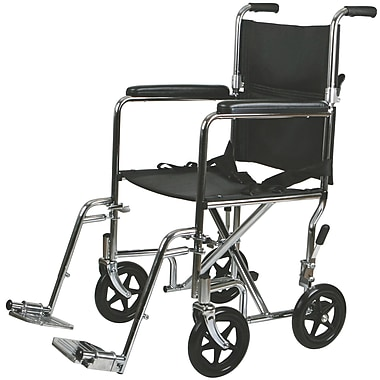 Medline Steel Transport Chair, 17in. W x 16in. D Seat, Permanent Full Length Arm, Swing Away Leg, Each