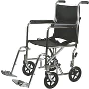 Medline Steel Transport Chair, 17 W x 16 D Seat, Permanent Full Length Arm, Swing Away Leg, Each