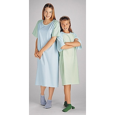 Comfort Knit® Adolescent Patient Gowns, Green/Blue, 8 to 11 years, Dozen