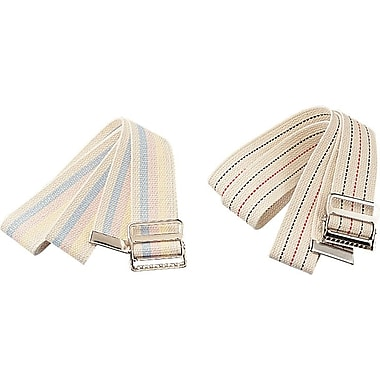 Medline Transfer Belts, White with Blue and Red Pin Stripes, 6/Pack