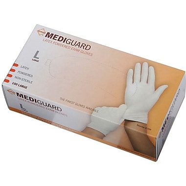 MediGuard® Powdered Latex Exam Gloves, Beige, Medium, 9in. L, 100/Box