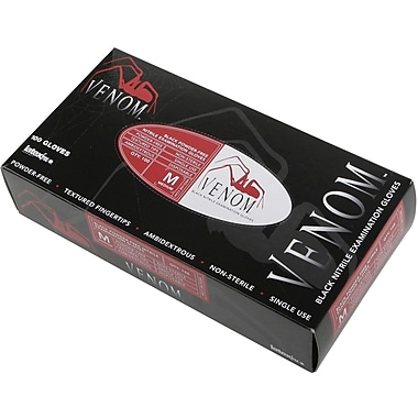 Venom™  Powder-free Latex-free Nitrile Exam Gloves, Black, Small, 9in. L, 1000/Pack
