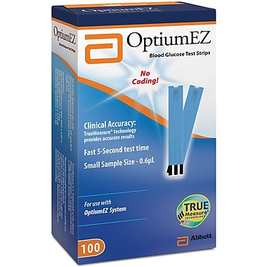 Abbott Diabetes Care Glucose Monitoring Test Strips, 100S, Optium EZ, 600/Pack