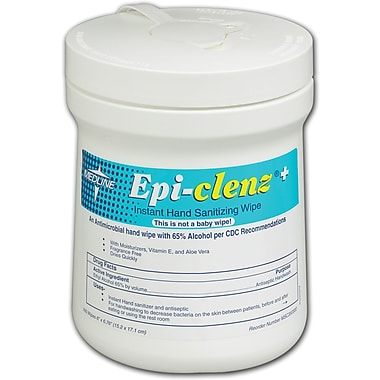 Epi-Clenz+  Instant Hand Sanitizing Wipes, 12/Pack, 6in. x 6 3/4in. Dimension