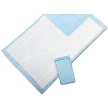 Protection Plus Fluff-Filled Underpads, Blue, 36in. L x 23in. W, Economy, 150/Pack