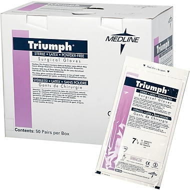 Triumph® Powder-free Latex Surgical Gloves, White, 7 1/2 Size, 12in. L, 50/Box