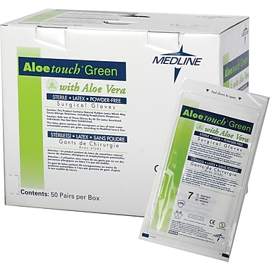 Aloetouch® Green Powder-free Latex Surgical Gloves, Dark Green, 6 1/2 Size, 12in. L, 50/Box
