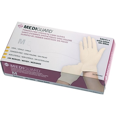 MediGuard® Stretch Synthetic Vinyl Exam Gloves, Beige, Small, 9