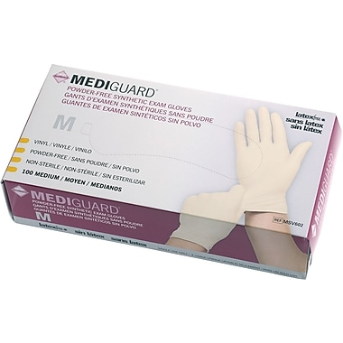 MediGuard® Stretch Synthetic Vinyl Exam Gloves, Beige, Medium, 9