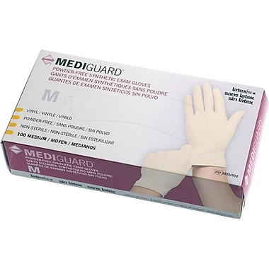 MediGuard® Stretch Synthetic Vinyl Exam Gloves, Beige, XL, 9in. L, 1000/Pack