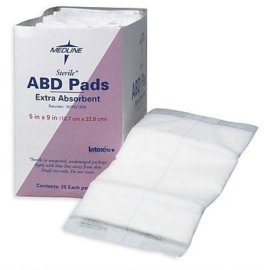 Medline Sterile Multi-Trauma Abdominal Pads, 30in. L x 10in. W, 50/Pack