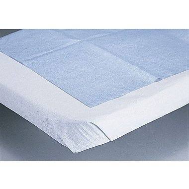 Medline Disposable Tissue/Poly Flat Bed Sheets, Blue, 84in. L x 40in. W