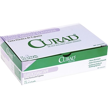 Curad® Elastic Foam Adhesive Tapes, 5 1/2 yds L x 4in. W, 3/Box