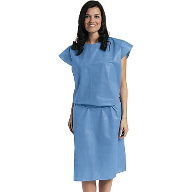Medline Short Sleeve Multi Layer Patient Gowns, Blue, Regular