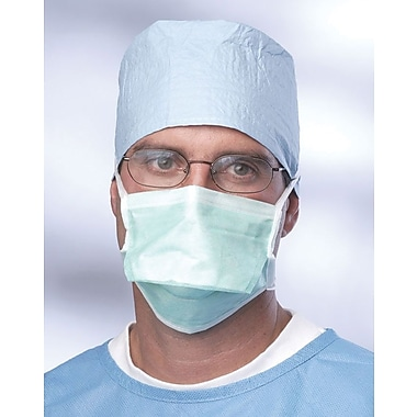 Medline Anti-fog Pleated Style Surgical Face Masks with Adhesive Tape, Green, 300/Pack