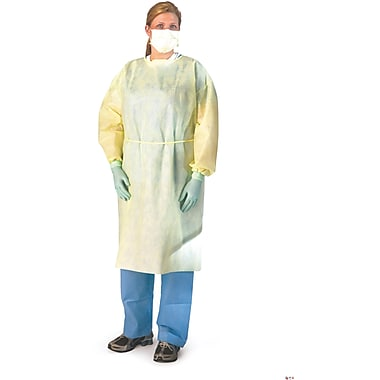Medline Lightweight Multi-ply Isolation Gowns, Yellow, Regular/Large, Elastic Wrist, 50/Pack