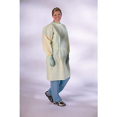 Medline Medium Weight Multi-ply Isolation Gown, Yellow, Regular/Large, Elastic Wrist, 100/Pack