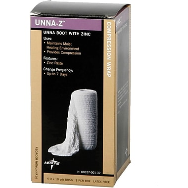 Medline Zinc Unna Boot Bandages, 10 yds L x 4in. W, 12/Pack