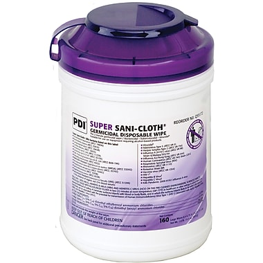 Super Sani-Cloth® Germicidal Wipes, 11 1/2in. L x 11 3/4in. W, 50/Box
