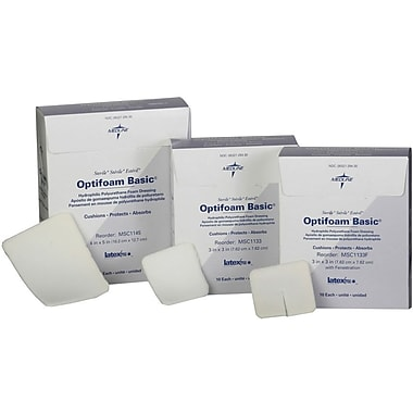 Optifoam® Basic Fenestrated Dressings, 3in. x 3in. Size, 10/Box