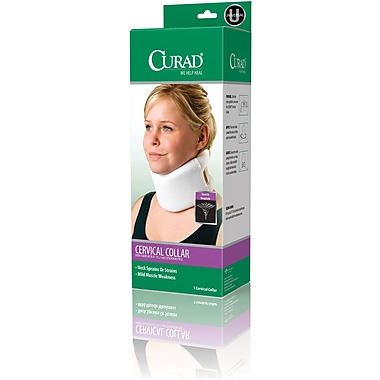 Curad® Firm Foam Serpentine Style Cervical Collar, Universal, 22in. L X 3 1/2in. H, 4/Pack