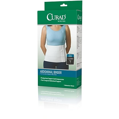 Curad® Premium Tri-panel Abdominal Binders, Large/XL, 46in. - 62in. L, 9in. H, 4/Pack