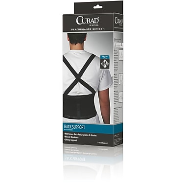 Curad® Back Support with Suspenders, Black, Medium, 30in. - 34in. L x 10in. H, 4/Pack