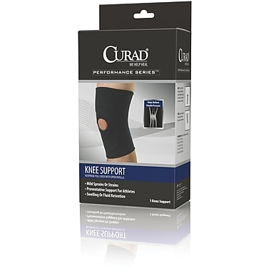Curad® Open Patella Knee Supports, Black, Large, Retail Packaging, Each