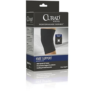 Curad® Closed Patella Knee Supports, Black, XL, Retail Packaging, Each